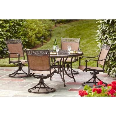 Patio Dining Sets For 4 Brown Modern 5 Cast Aluminum Sling Patio Dining Set Contemporary Rust Resistant