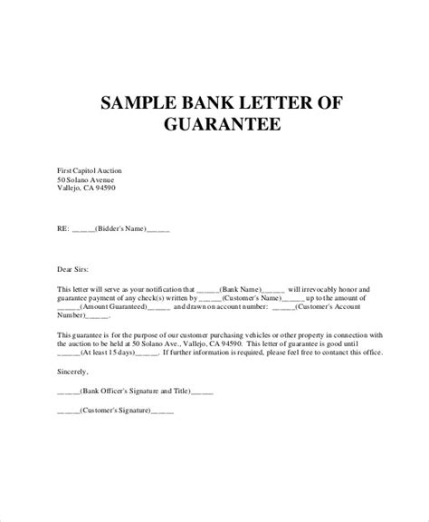 Company Guarantee Letter With Bank Endorsement letter of guarantee letters free sle letters
