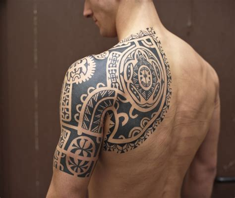 tribal chest and half sleeve tattoo classic black tribal half sleeve for