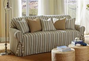 striped slipcovers for sofas sure fit harbor stripe one sofa slipcover 1