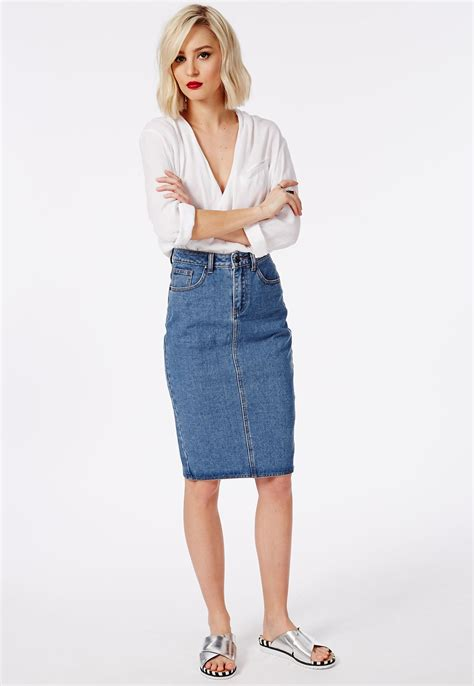 premium denim midi skirt blue skirts missguided