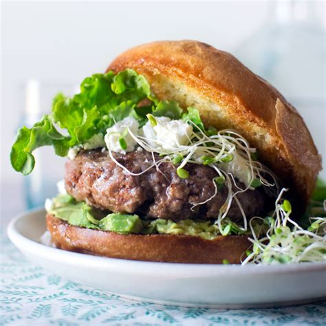 Summer Kitchen Ideas lamb burgers with goat cheese and avocado fork kife swoon