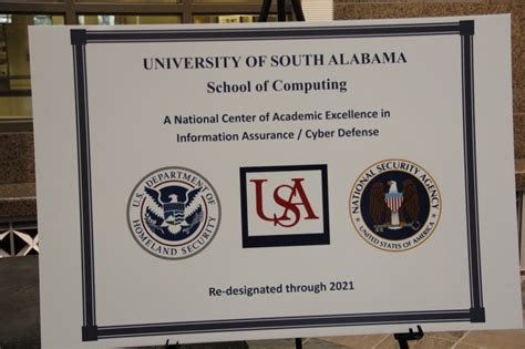 Of South Alabama Mba Admission Requirements by Recognized By The Nsa Of South Alabama A