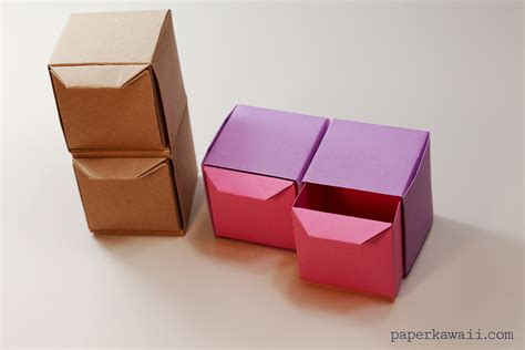 Folded Paper Crafts - origami pull out drawers paper kawaii