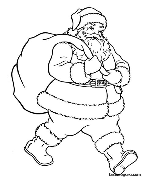 printable santa pictures free christmas 187 santa claus with christmas gifts bage coloring