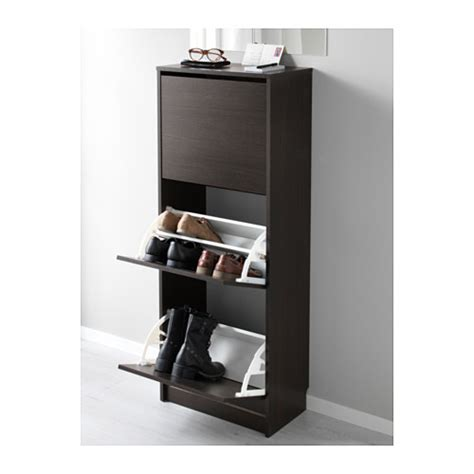 Brown Shoe Cabinet by Bissa Shoe Cabinet With 3 Compartments Black Brown 49x135