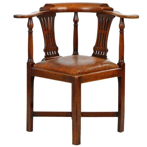 Corner Chair by Antique Quot Roundabout Quot Corner Chair With Leather Seat Circa