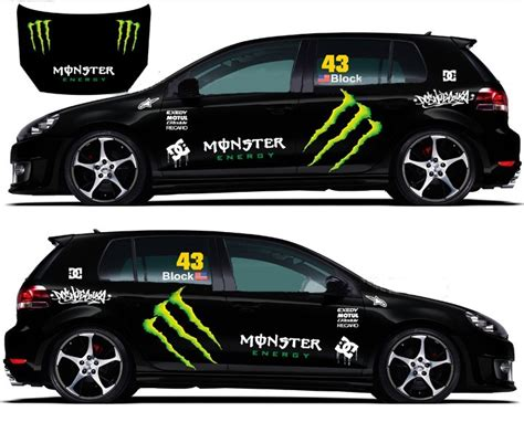 Monster Energy Sticker Car by Refective Full Car Body Decals Racing Monster Energy Car