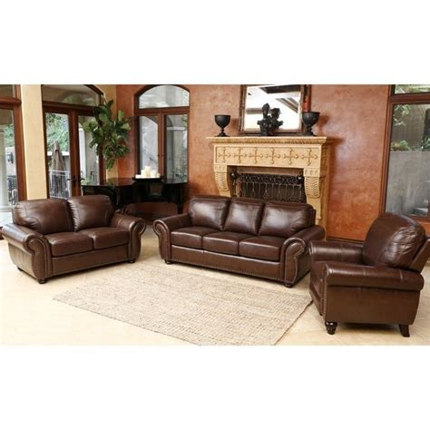 Brown Leather Sofa Sets Abbyson Living Luca 3 Leather Sofa Set In Brown Sk 24602 Brn 3 2 1