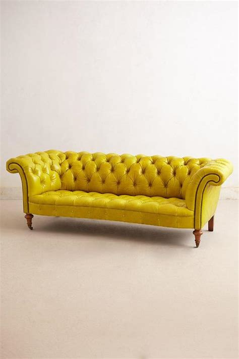 yellow leather sofa citrine yellow leather button tufted sofa