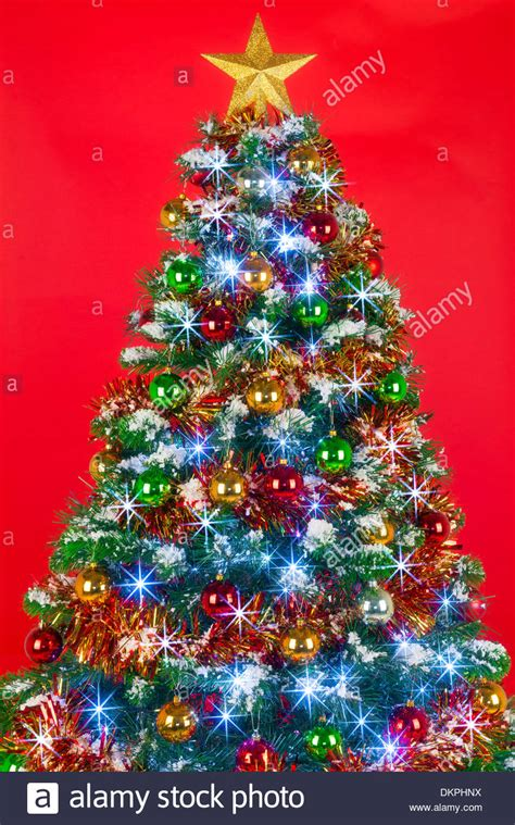 tree decorated with a decorated tree with baubles tinsel and