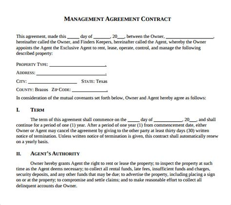 business management contract template sle management agreement 11 free documents in pdf word