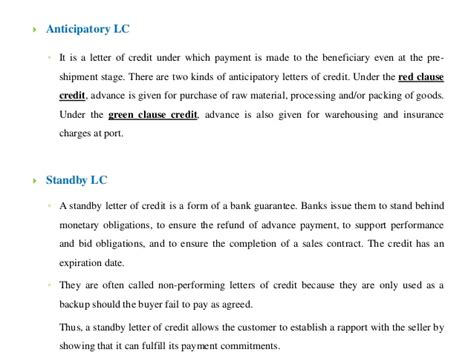 Letter Of Credit Green Clause letter of credit pdf letters of credit export govabout