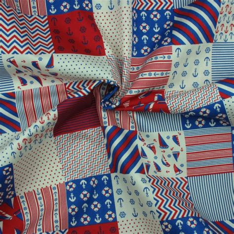 Patchwork Prints - nautical patchwork print in blue and on fabric