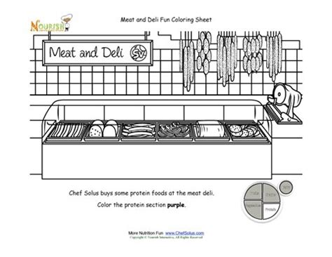 printable coloring pages grocery store my plate protein food and deli grocery store