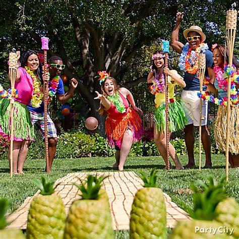 hawaiian themed party games luau pineapple bowling idea totally tiki luau party