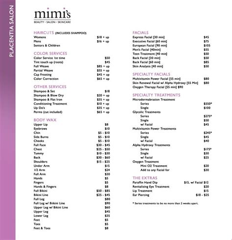 salon price list idea a good guide to start with hair
