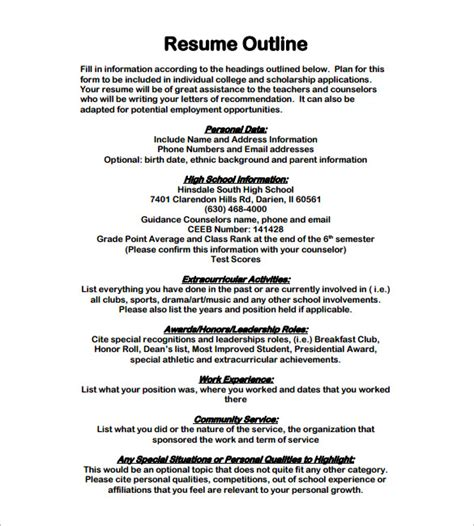 Resume Outline Exle by Resume Outline Template 12 Free Sle Exle Format