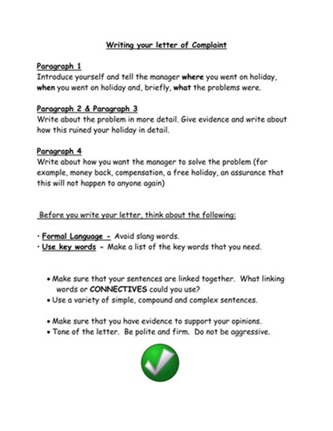 Complaint Letter Sle Docx Complaint Letters By Sjb1987 Teaching Resources Tes
