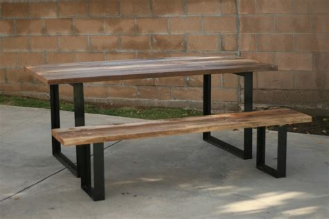wooden bench and table arbor exchange reclaimed wood furniture outdoor table bench with metal legs