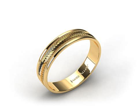 14k Yellow Gold Mens 6mm Comfort Fit Wedding Band by 6mm Arrow Design Comfort Fit Wedding Band 14k Yellow