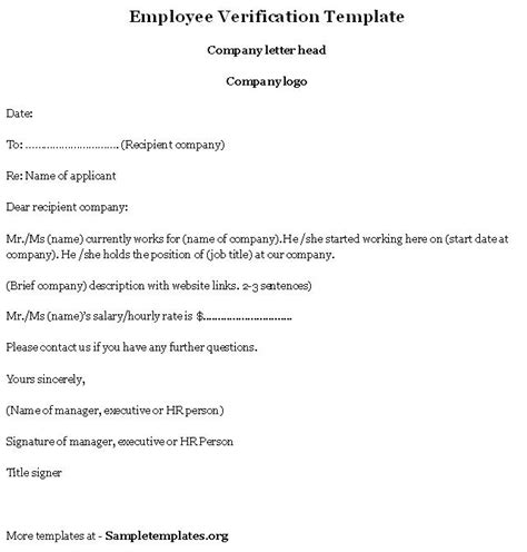Proof Of Previous Employment Letter employment verification letter template bbq grill recipes