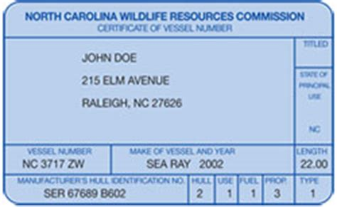 boating license in nc certificate of number registration card nc boat ed