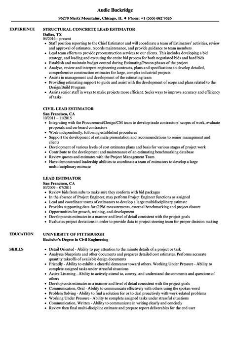 Chief Estimator Sle Resume by Lead Estimator Resume Sles Velvet