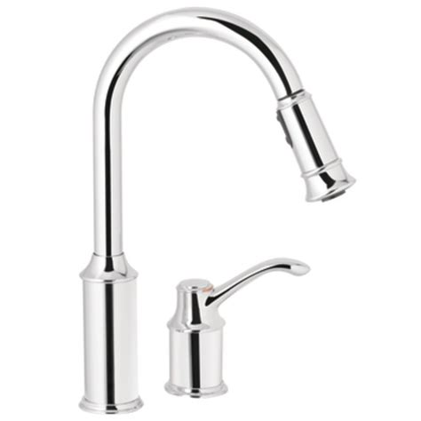 kitchen faucet handle moen 7590c aberdeen one handle high arc pulldown kitchen