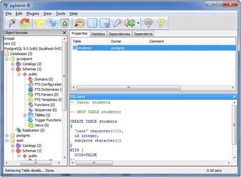 postgresql create table javatpoint