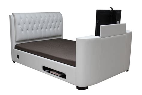 tv bed cheap leather tv bed double king super white black brown