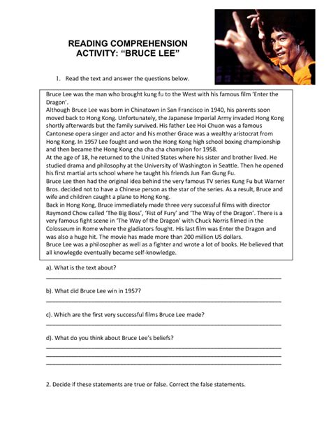 tense biography text reading comprehension bruce lee
