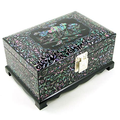 Handmade Jewellery Boxes - handmade jewellery box inlaid with of pearl lotus