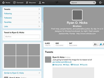 twitter free psd template by ryan o hicks dribbble