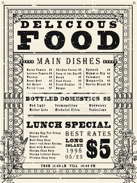 design menu vintage vintage restaurant menu poster design stock photos
