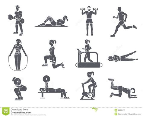 sport fitness a guide to a healthier lifestyle books sport exercises icons stock vector image 44889177