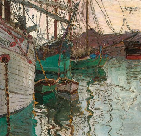 Duvet Company Port Of Trieste Painting By Egon Schiele
