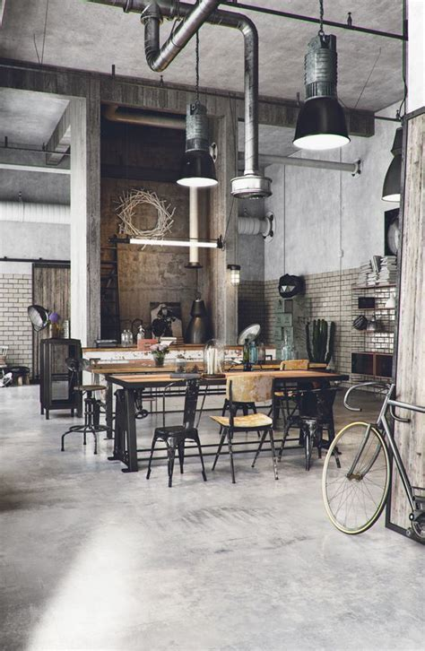 Retro Flooring by Superb Industrial Cafe Decoration