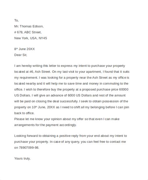 Offer Letter To Purchase Sle Real Estate Offer Letter 6 Documents In Pdf Word