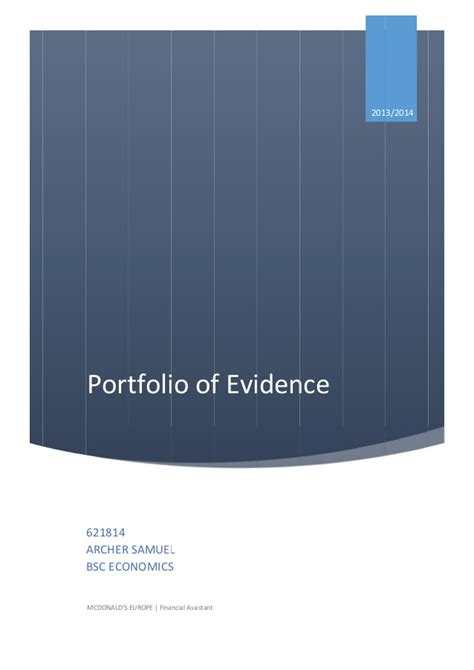 layout of a portfolio of evidence portfolio of evidence reflective report