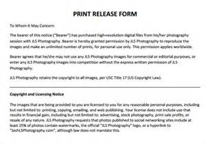 Print Release Template by Print Release Form 8 Free Sles Exles Formats