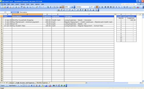 list of household expenses template excel templates excel spreadsheets household expenses