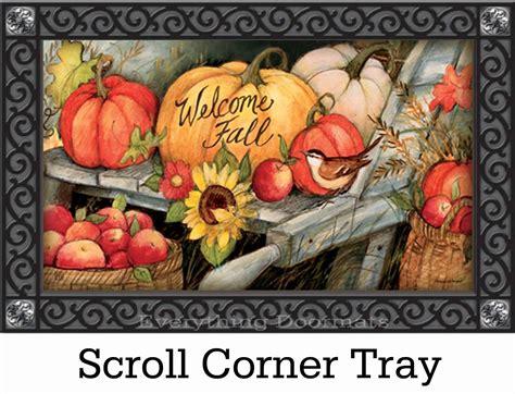indoor outdoor welcome fall pumpkins matmate doormat