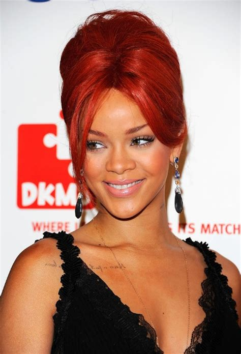 rihanna french twist updo hairstyle with wispy bangs rihanna red french twist updo hairstyle hairstyles weekly