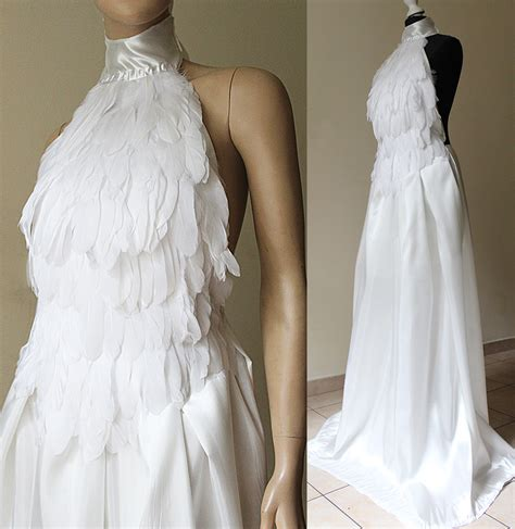 white swan elven wedding feather dress i by pinkabsinthe on deviantart