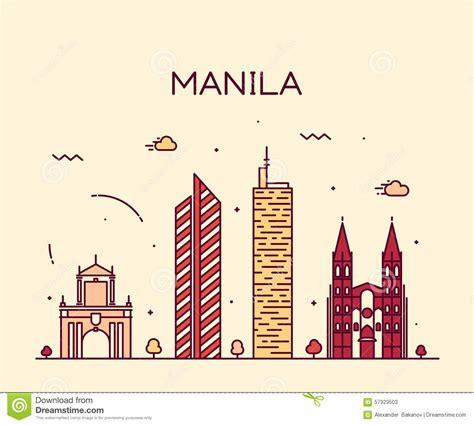 freelance layout artist manila manila skyline trendy vector illustration linear stock