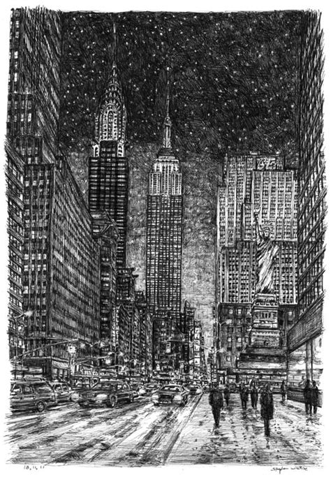 new york drawings imaginary drawing of new york in winter original drawings prints and limited editions by