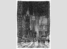 Imaginary drawing of New York in winter - Original ... New York Skyline Drawing Autistic