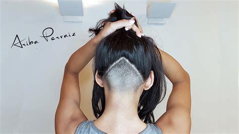 Triangle With Slight Graduation With Shaved Head | triangle undercut hair makeover ariba pervaiz youtube