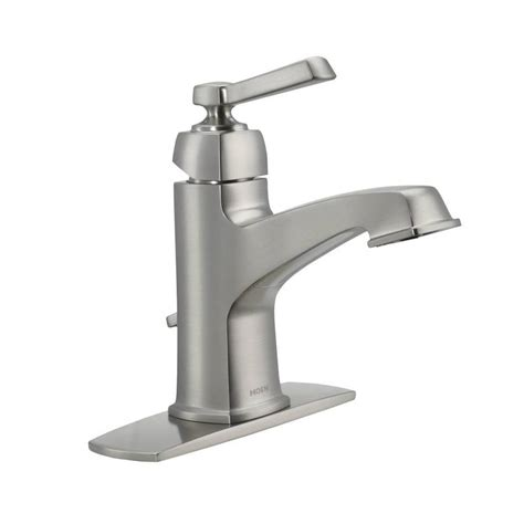 moen boardwalk bathroom faucet shop moen boardwalk spot resist brushed nickel 1 handle